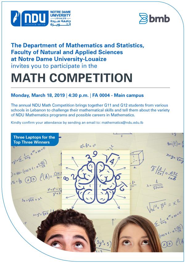BMB sponsors NDU's Math Competition!